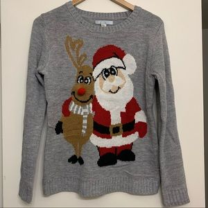 Christmas Sweater Santa and Rudolph size small